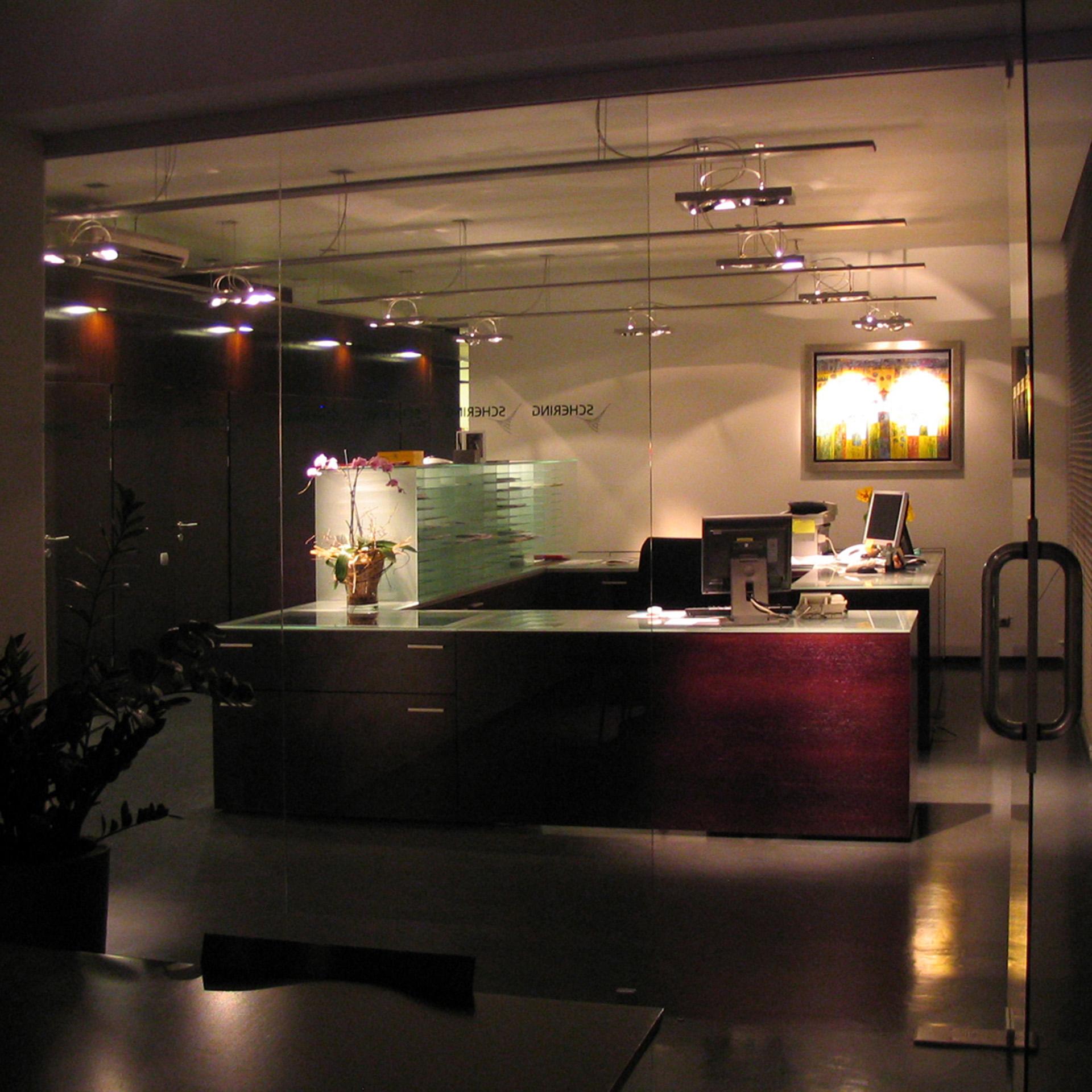 Aranżacja wnętrz siedziby firmy Schering. Projekt aranżacji Baza architekci.
