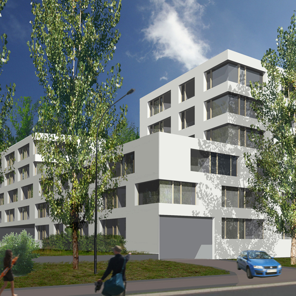 Budynek wielorodzinny przy ul. Powstańców Śląskich w Krakowie. Projekt BAZA architekci.