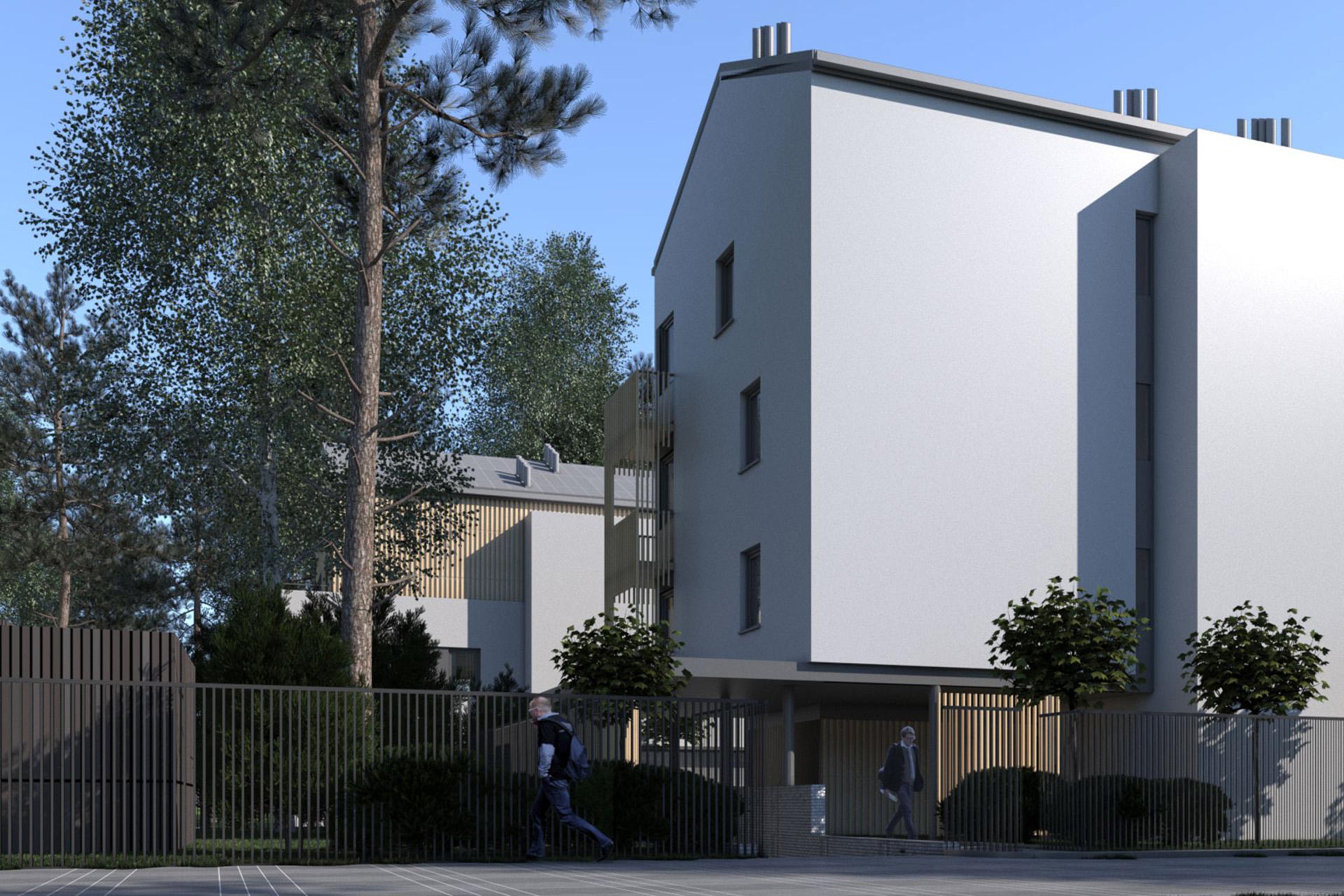 Osiedle domów wielorodzinnych w Otwocku. Projekt architektoniczny BAZA architekci.