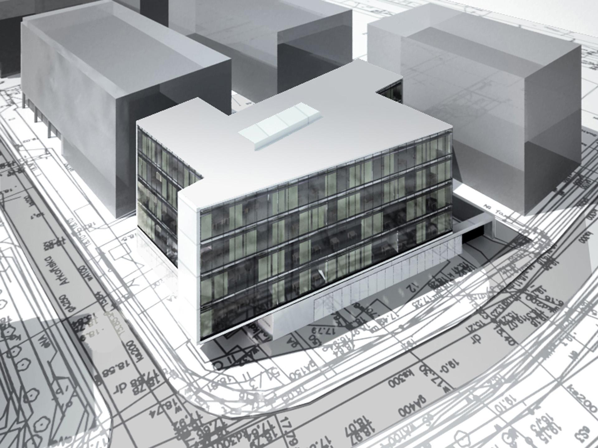 Budynek biurowy przy ul. Śląskiej w Gdańsku. Projekt budynku biurowego BAZA Architekci.