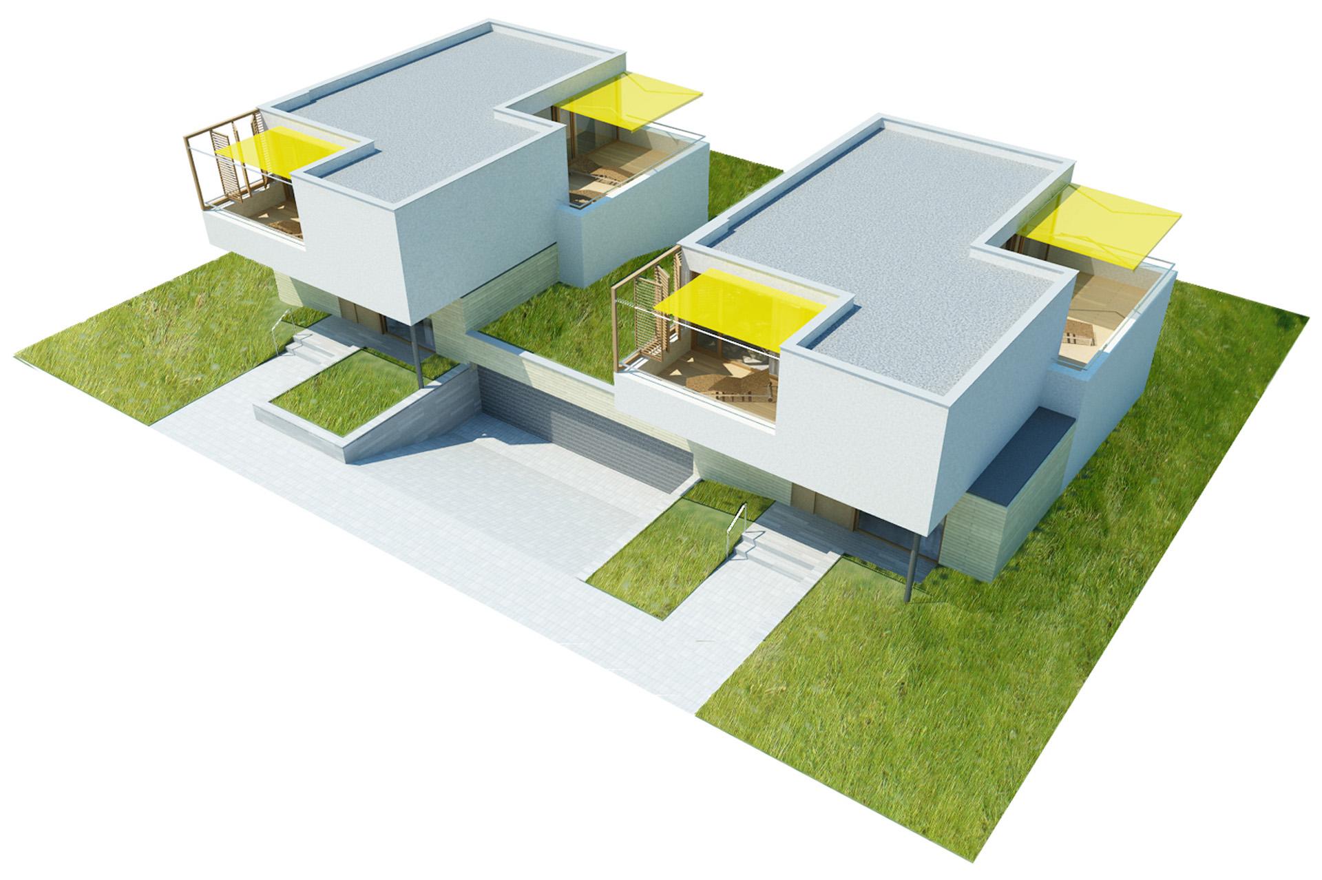 Projekt architektoniczny zespołu budynków jednorodzinnych w zabudowie bliźniaczej przy ul. Stryjeńskich w Warszawie. BAZA architekci.