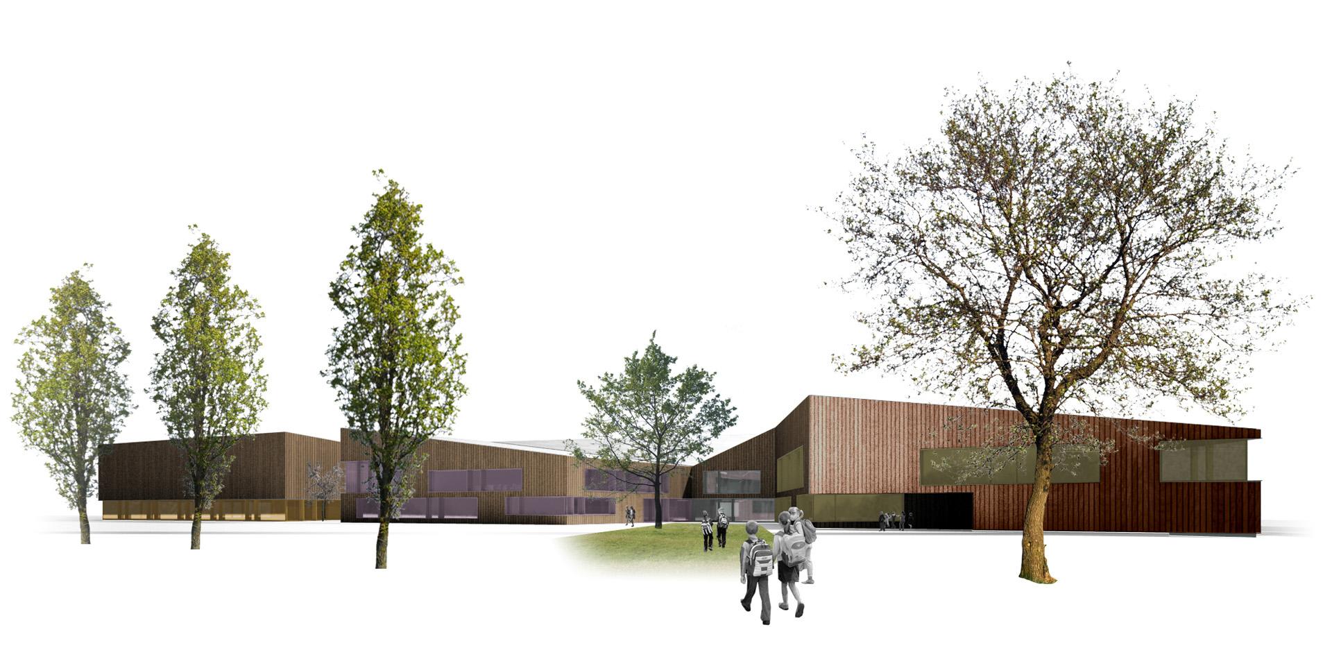 Centrum edukacyjno-kulturalno-sportowe w Chotomowie. Projekt konkursowy Baza architekci.
