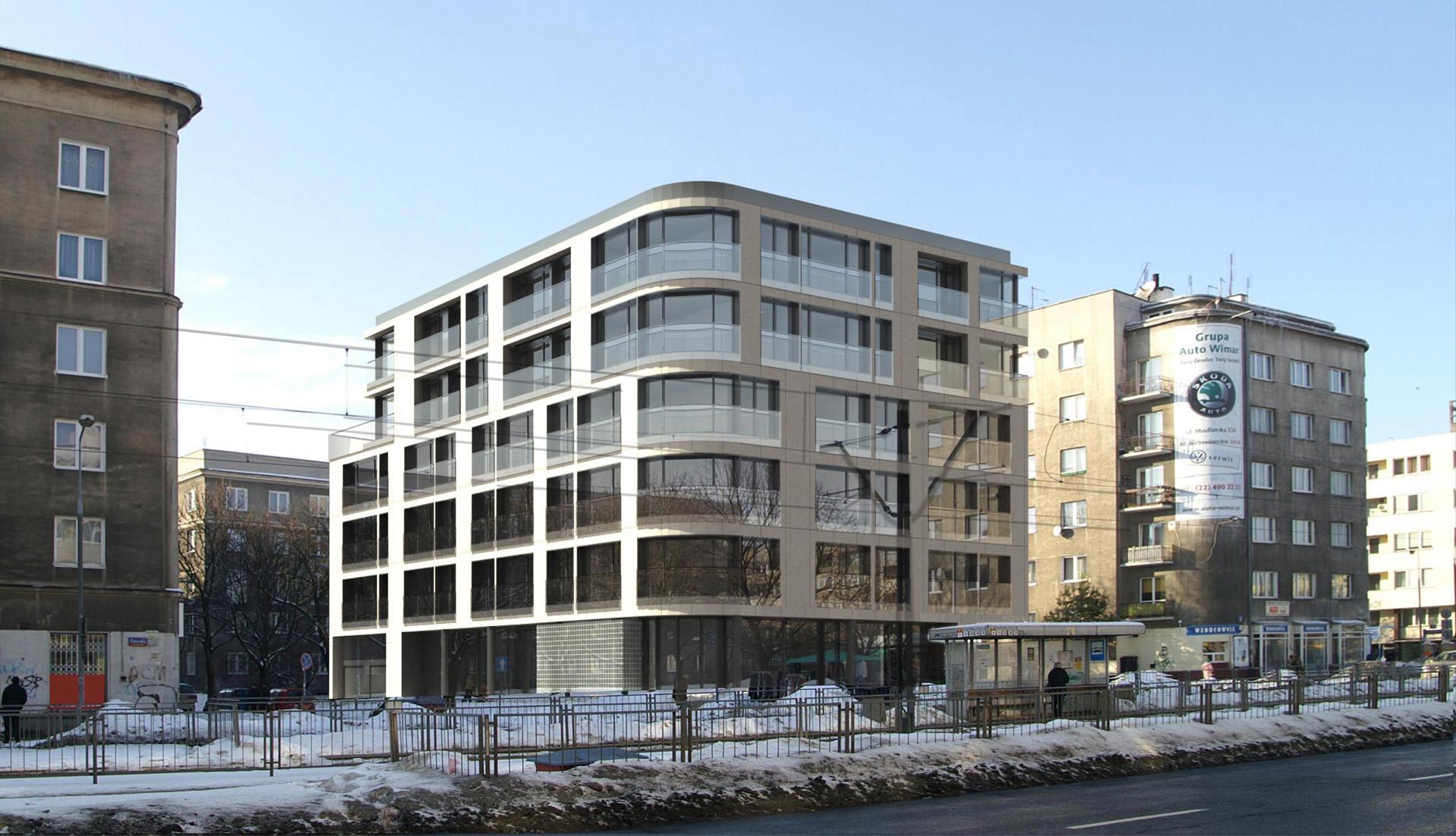 Budynek wielorodzinny przy ul. Olesińskiej w Warszawie. Projekt Baza Architekci.