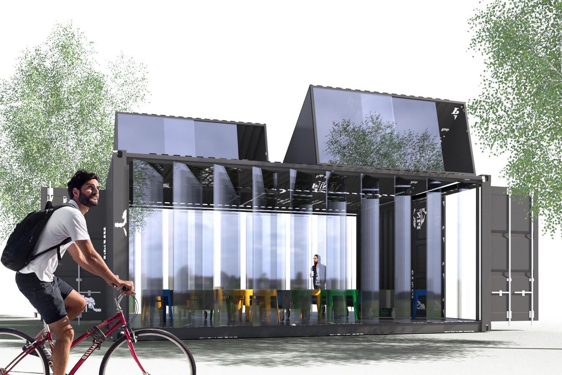 Całoroczny ogródek piwny. Projekt BAZA architekci.