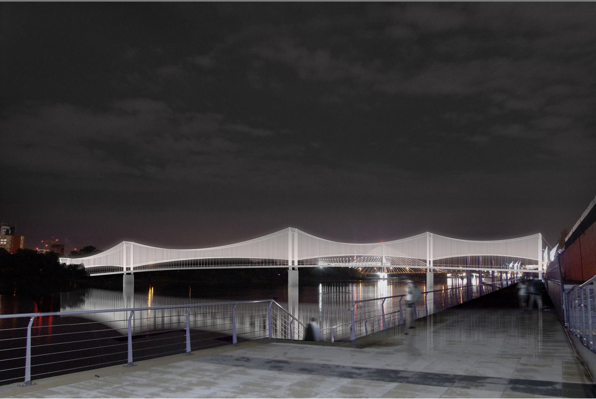Kładka pieszo-rowerowa nad Wisłą. Projekt BAZA architekci.