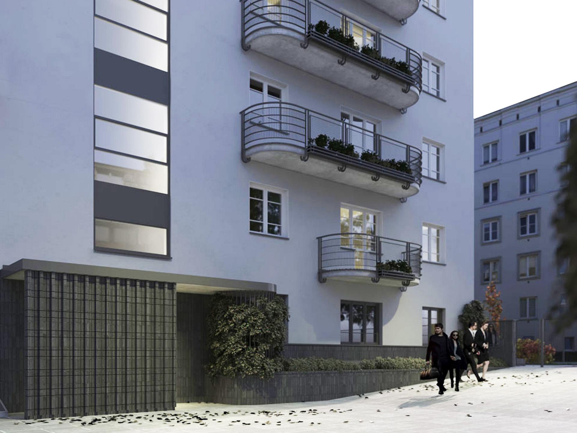 Renowacja elewacji kamienicy modernistycznej przy ul. Wyspiańskiego. Projekt BAZA architekci.